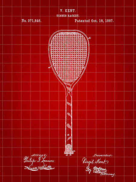 Wall Art - Digital Art - Tennis Racket Patent 1887 - Red by Stephen Younts