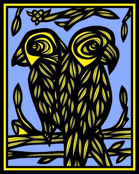 Blue Parrot Drawing - Skow Parrot Yellow Blue Black by Eddie Alfaro