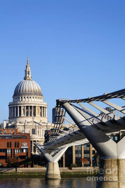Millenium Photograph - The Millenium Bridge And St Paul's Cathedral In London England by Robert Preston