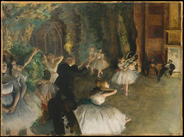 Oil Pastels Drawing - The Rehearsal Of The Ballet Onstage by Edgar Degas