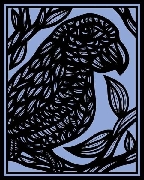 Blue Parrot Drawing - The Servant's Night by Eddie Alfaro