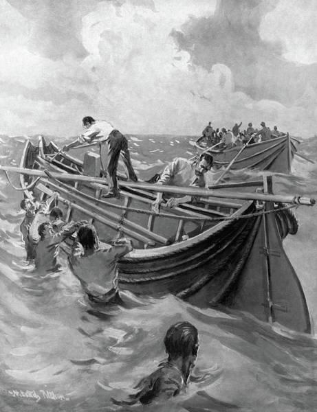 Atlantic Ocean Drawing - Titanic Lifeboats, 1912 by Granger