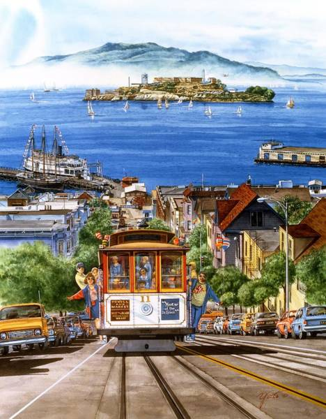 Golden Gate Painting - Trolley Of San Francisco by John YATO