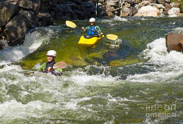 Photograph - Two Whitewater Kayaks by Les Palenik