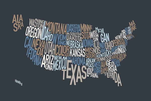 Text Map Digital Art - United States Text Map by Michael Tompsett