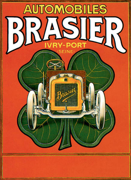 Four Leaf Clover Photograph - Brasier Automobiles by Unknown