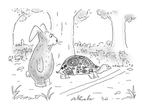 Race Drawing - New Yorker August 21st, 2000 by Arnie Levin