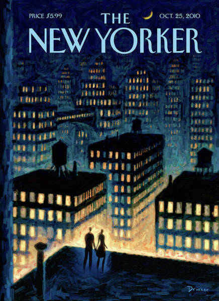 Skyline Painting - New Yorker October 25th, 2010 by Eric Drooker