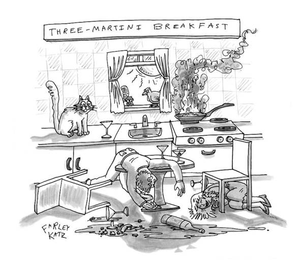 Breakfast Drawing - Captionless; Three-martini Breakfast by Farley Katz