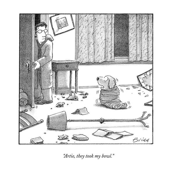 Home Drawing - Artie, They Took My Bowl by Harry Bliss