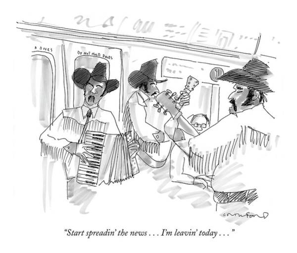 Mariachi Drawing - Start Spreadin' The News . . . I'm Leavin' Today by Michael Crawford