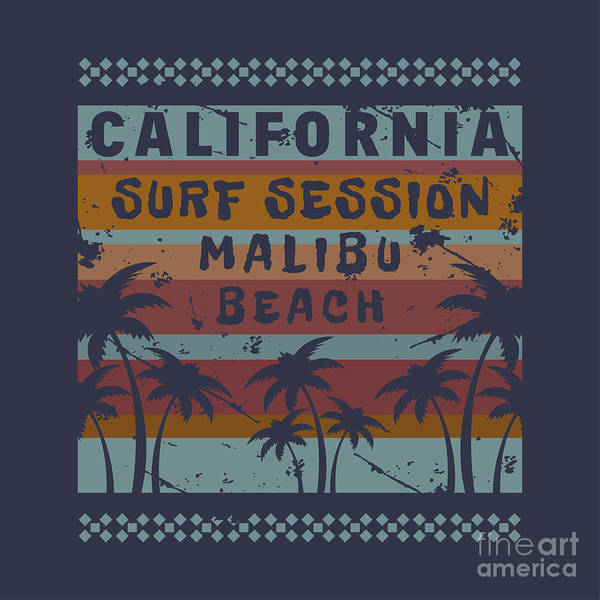 Surfer Digital Art - Vector Illustration On The Theme Of by Serge Geras