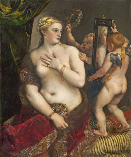 Putto Painting - Venus With A Mirror by Titian