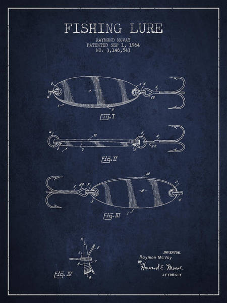 Antique Fishing Lures Wall Art - Drawing - Vintage Fishing Lure Patent Drawing From 1964 by Aged Pixel