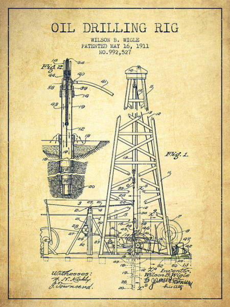 Exclusive Rights Wall Art - Drawing - Vintage Oil Drilling Rig Patent From 1911 by Aged Pixel
