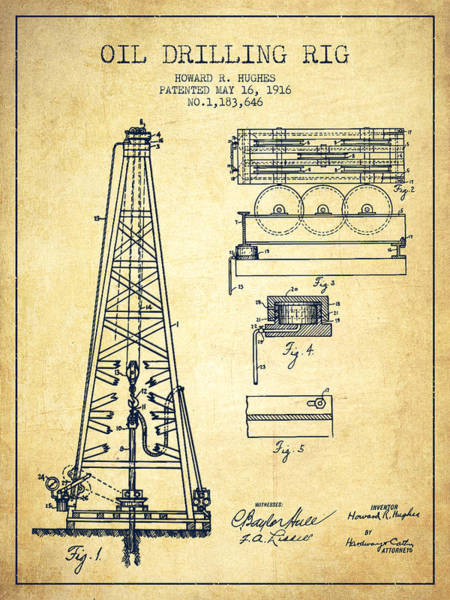 Drilling Rig Wall Art - Drawing - Vintage Oil Drilling Rig Patent From 1916 by Aged Pixel