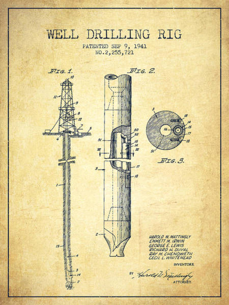 Drilling Wall Art - Drawing - Vintage Well Drilling Rig Patent From 1941 by Aged Pixel