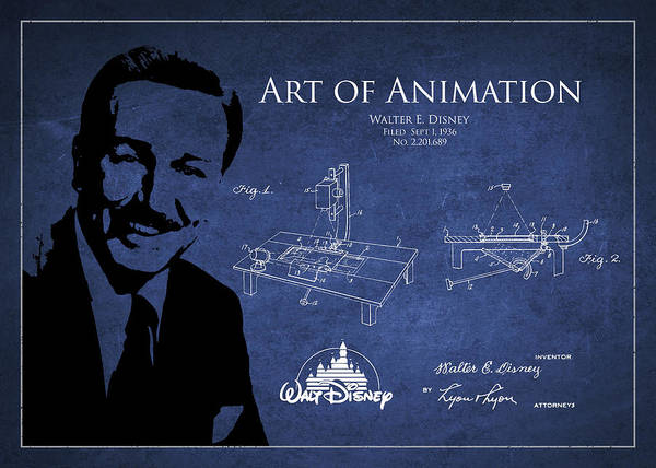 Disney Digital Art - Walt Disney Patent From 1936 by Aged Pixel