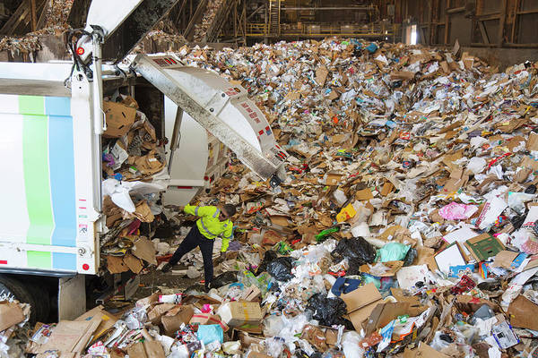 Trash Photograph - Waste Arriving At A Recycling Centre by Peter Menzel