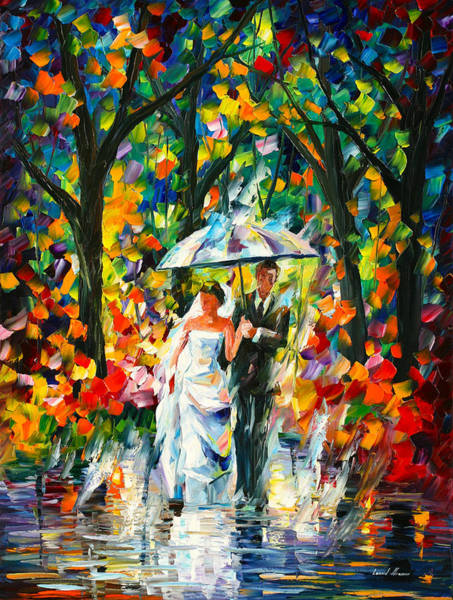 Pure Love Wall Art - Painting - Wedding Under The Rain by Leonid Afremov