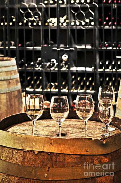 Wine Tasting Photograph - Wine Glasses And Barrels by Elena Elisseeva