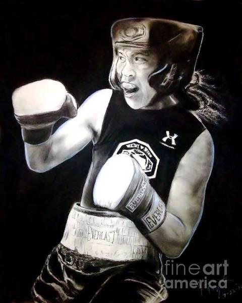 Filipino Drawing - Woman's Boxing Champion Filipino American Ana Julaton by Jim Fitzpatrick