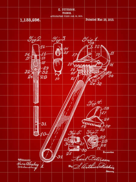 Adjustable Wrench Wall Art - Digital Art - Wrench Patent 1915 - Red by Stephen Younts