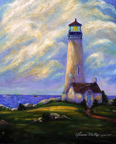 Northwest Florida Painting - Yaquina Head Lighthouse Oregon by Glenna McRae