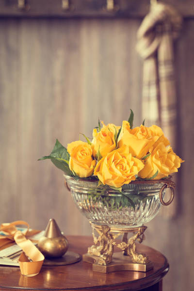 Receptions Photograph - Yellow Roses by Amanda Elwell