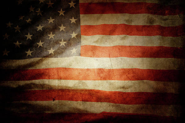 Flag Wall Art - Photograph - American Flag Rippled by Les Cunliffe
