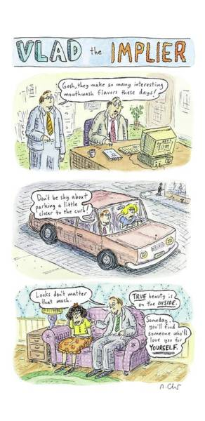 Columns Drawing - New Yorker May 19th, 2008 by Roz Chast