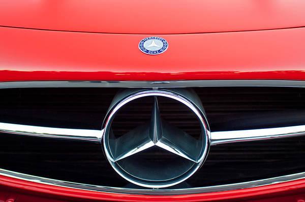 Wall Art - Photograph - 300 Mercedes-benz Sl Roadster Hood Emblem by Jill Reger