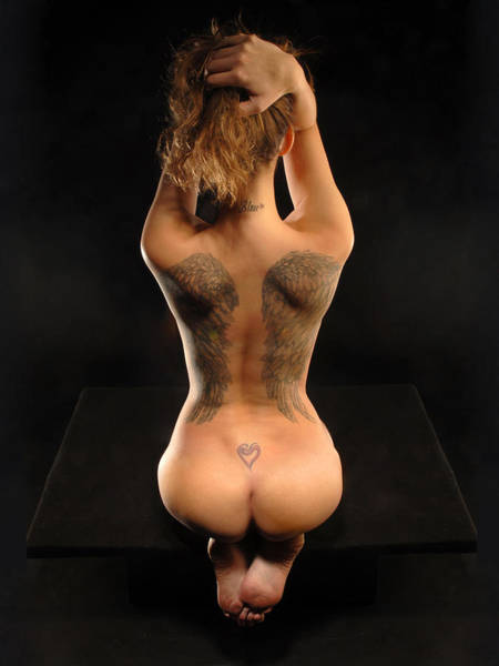 Photograph - 3046 Nude With Angel Wing Tattoo On Her Back by Chris Maher