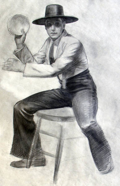 Drawing - Tambourine Man by Robert Poole