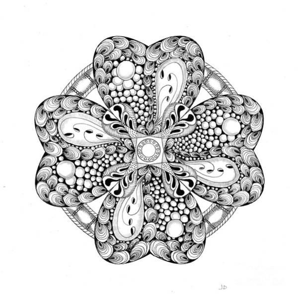 Organic Form Drawing - 31 - 4 Pt Symmetry by Jeaanne Donovan
