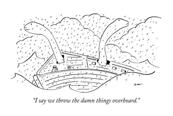 Noah Wall Art - Drawing - I Say We Throw The Damn Things Overboard by Michael Shaw