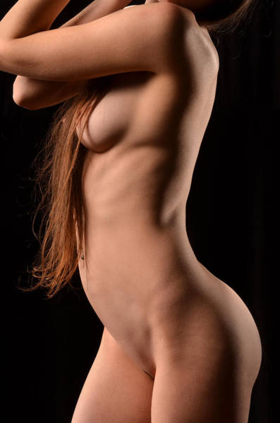 Photograph - 3164 Long Hair Avonelle Nude Side View by Chris Maher