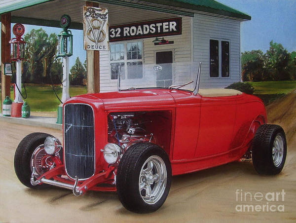 Gas Station Drawing - 32 Ford At Filling Station by Paul Kuras
