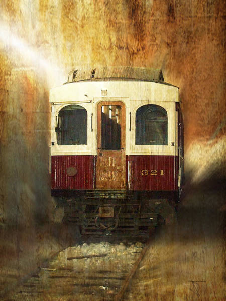 Cloud Cover Mixed Media - 321 Antique Passenger Train Car Textured by Thomas Woolworth