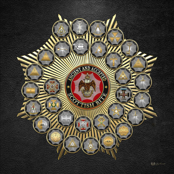 Digital Art - 33 Scottish Rite Degrees On Black Leather by Serge Averbukh