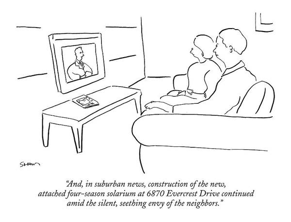 Suburban Drawing - And, In Suburban News, Construction Of The New by Michael Shaw