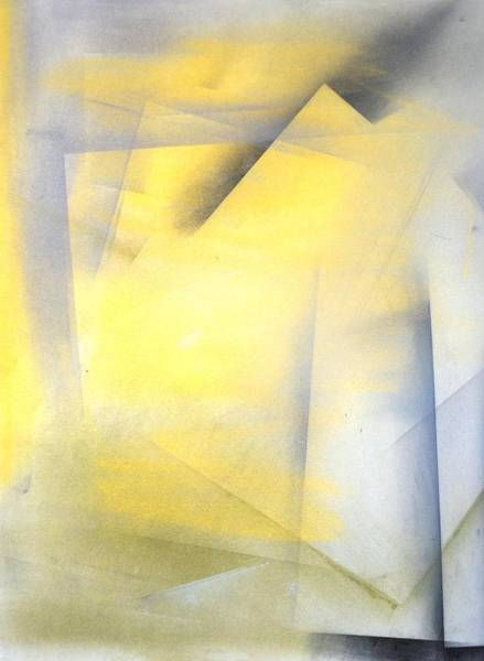 Line Drawing - Raise The Bar - Grey And Yellow Abstract Art Painting by CarolLynn Tice