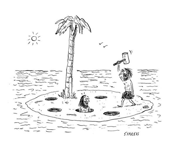 Shipwreck Drawing - Whac-a-mole Island by David Sipress