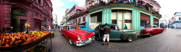 Wall Art - Photograph - 360 Degree View Of Old Cars And Fruit by Panoramic Images