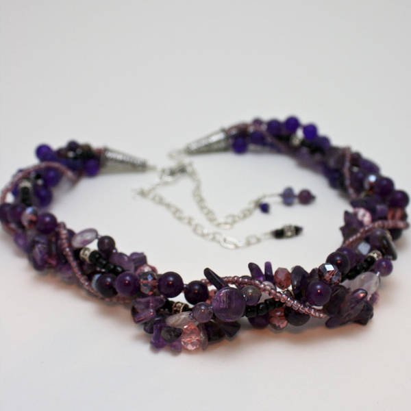 Sterling Silver Jewelry Wall Art - Jewelry - 3607 Multi Strand Adjustable Amethyst Necklace by Teresa Mucha
