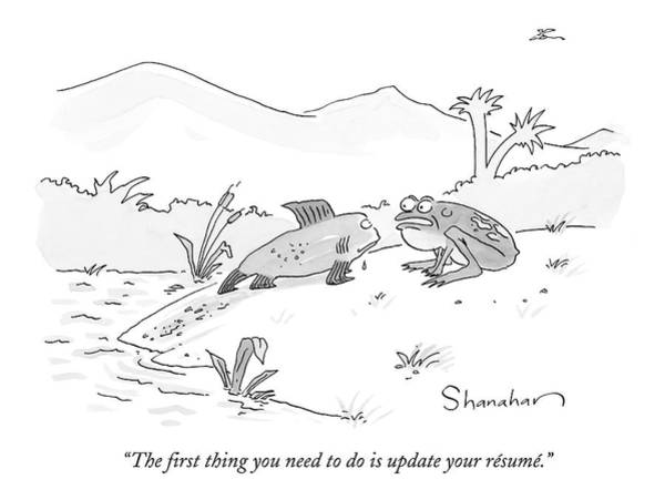 Fish Drawing - The First Thing You Need To Do Is Update by Danny Shanahan