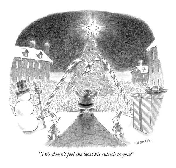 Santa Drawing - This Doesn't Feel The Least Bit Cultish To You? by Pat Byrnes