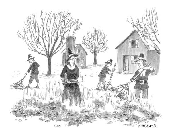 Witches Drawing - New Yorker November 28th, 2005 by Pat Byrnes