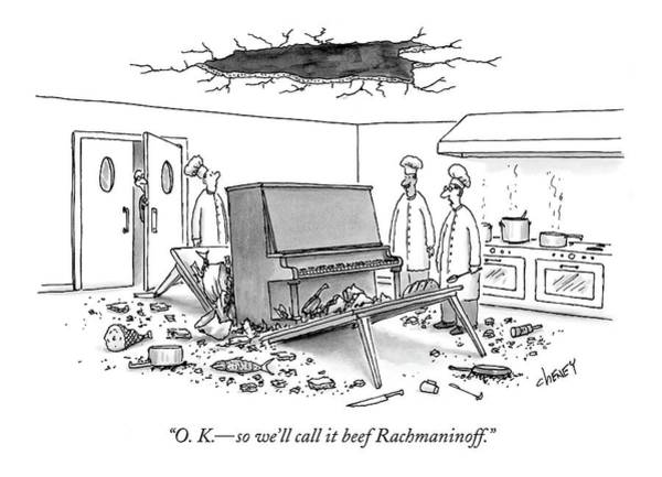 Restaurant Drawing - O. K. - So We'll Call It Beef Rachmaninoff by Tom Cheney