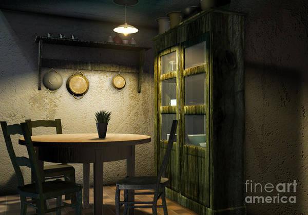 Fashion Plate Digital Art - 3d Dining Table Room by Artist Nandika  Dutt